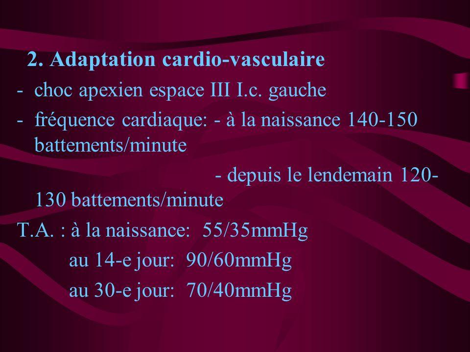 2. Adaptation cardio-vasculaire -choc apexien espace III I.c. gauche -fréquence cardiaque: - à la naissance 140-150 battements/minute - depuis le lend