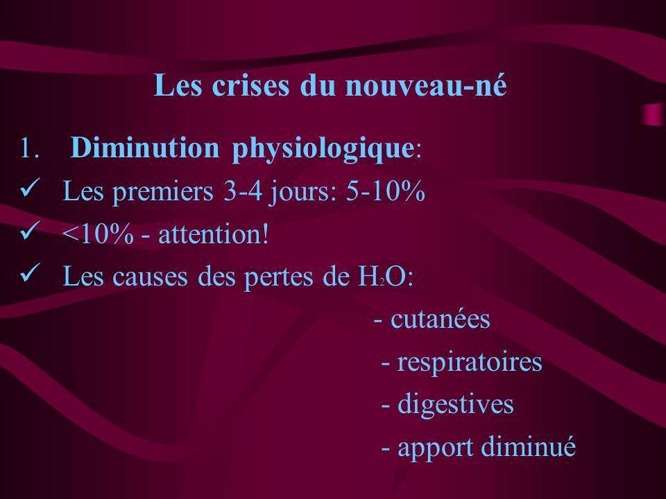 Les crises du nouveau-né 1. Diminution physiologique : Les premiers 3-4 jours: 5-10% <10% - attention! Les causes des pertes de H 2 O: - cutanées - re