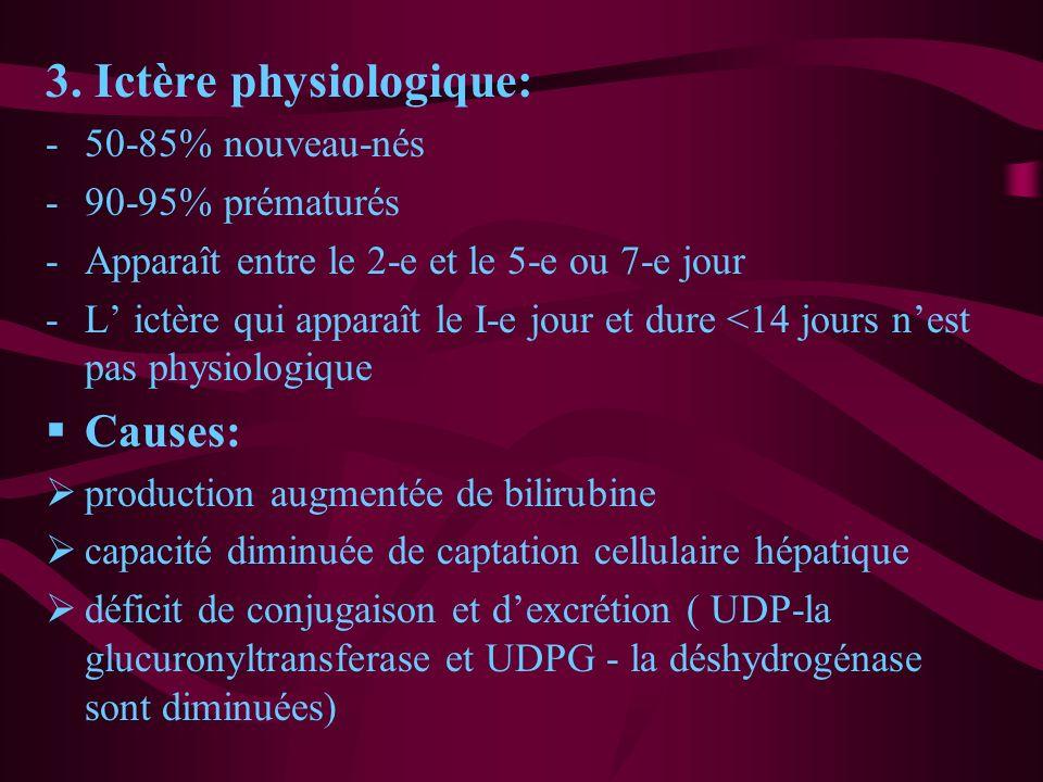 3. Ictère physiologique: -50-85% nouveau-nés -90-95% prématurés -Apparaît entre le 2-e et le 5-e ou 7-e jour -L ictère qui apparaît le I-e jour et dur