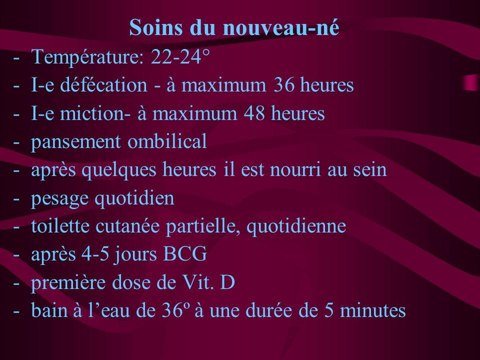 Soins du nouveau-né -Température: 22-24° -I-e défécation - à maximum 36 heures -I-e miction- à maximum 48 heures -pansement ombilical -après quelques