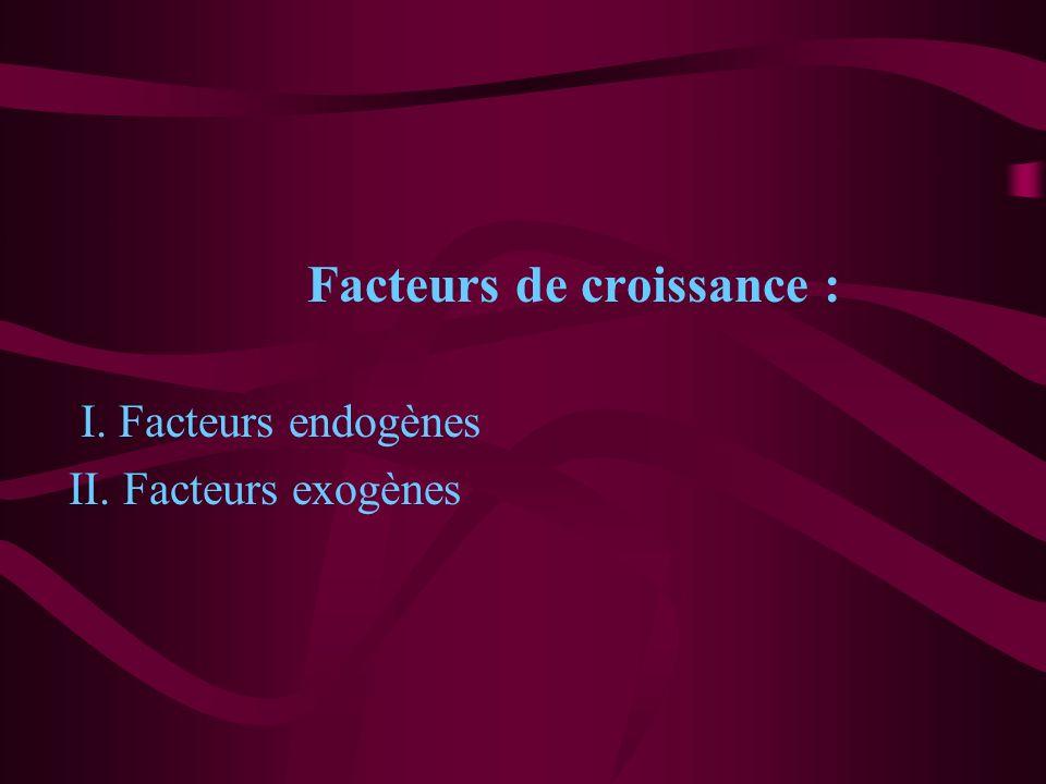 Facteurs de croissance : I. Facteurs endogènes II. Facteurs exogènes