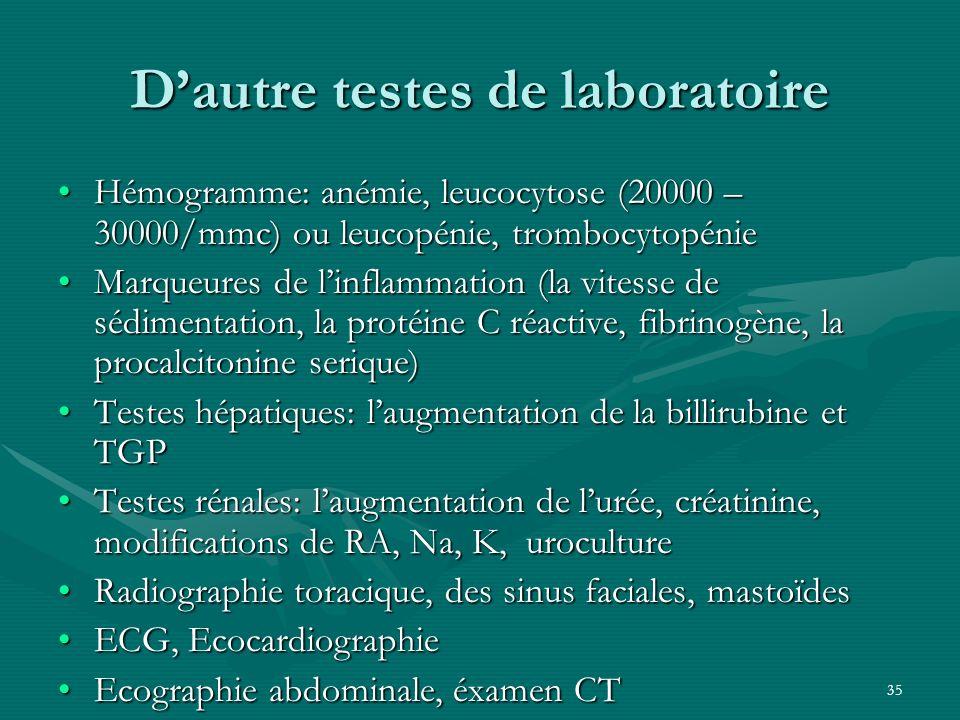 35 Dautre testes de laboratoire Hémogramme: anémie, leucocytose (20000 – 30000/mmc) ou leucopénie, trombocytopénieHémogramme: anémie, leucocytose (200