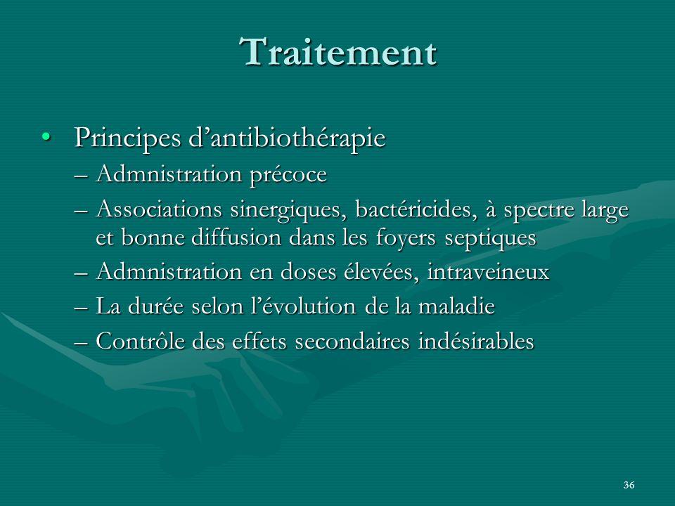 36 Traitement Principes dantibiothérapie Principes dantibiothérapie –Admnistration précoce –Associations sinergiques, bactéricides, à spectre large et
