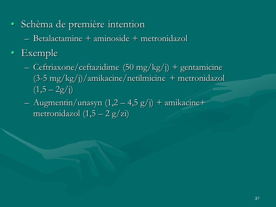37 Schèma de première intentionSchèma de première intention –Betalactamine + aminoside + metronidazol ExempleExemple –Ceftriaxone/ceftazidime (50 mg/k
