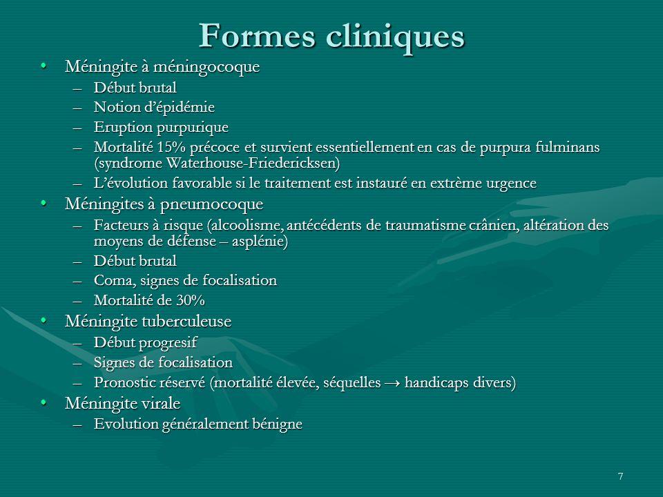 7 Formes cliniques Méningite à méningocoqueMéningite à méningocoque –Début brutal –Notion dépidémie –Eruption purpurique –Mortalité 15% précoce et sur
