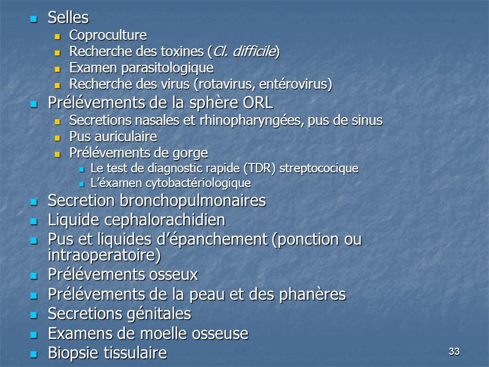 33 Selles Selles Coproculture Coproculture Recherche des toxines (Cl. difficile) Recherche des toxines (Cl. difficile) Examen parasitologique Examen p