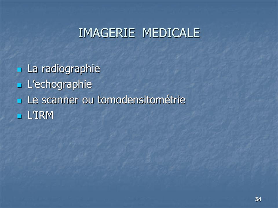 34 IMAGERIE MEDICALE La radiographie La radiographie Lechographie Lechographie Le scanner ou tomodensitométrie Le scanner ou tomodensitométrie LIRM LI