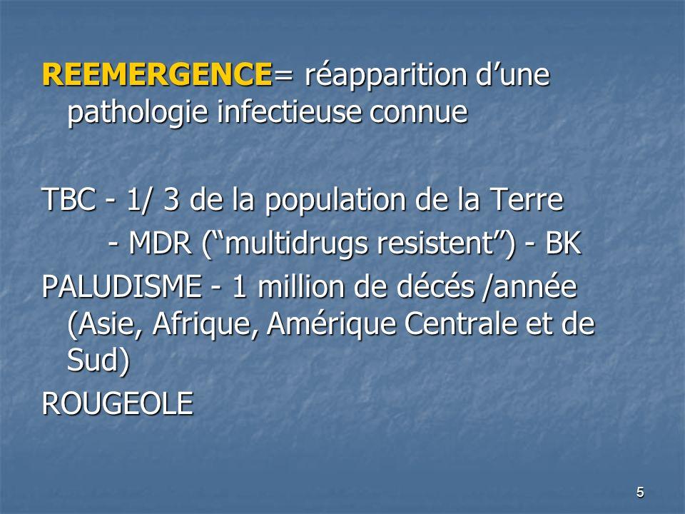 5 REEMERGENCE= réapparition dune pathologie infectieuse connue TBC - 1/ 3 de la population de la Terre - MDR (multidrugs resistent) - BK - MDR (multid