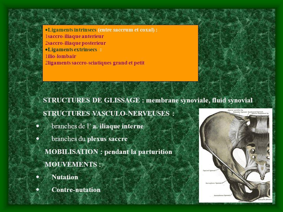 Ligaments intrinsecs (entre saccrum et coxal) : 1saccro-iliaque anterieur 2saccro-iliaque posterieur Ligaments extrinsecs : 1ilio-lombair 2ligaments s