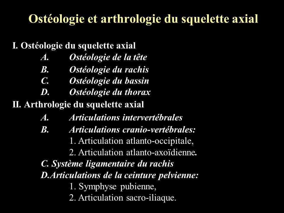 Ostéologie et arthrologie du squelette axial I. Ostéologie du squelette axial A.Ostéologie de la tête B.Ostéologie du rachis C.Ostéologie du bassin D.