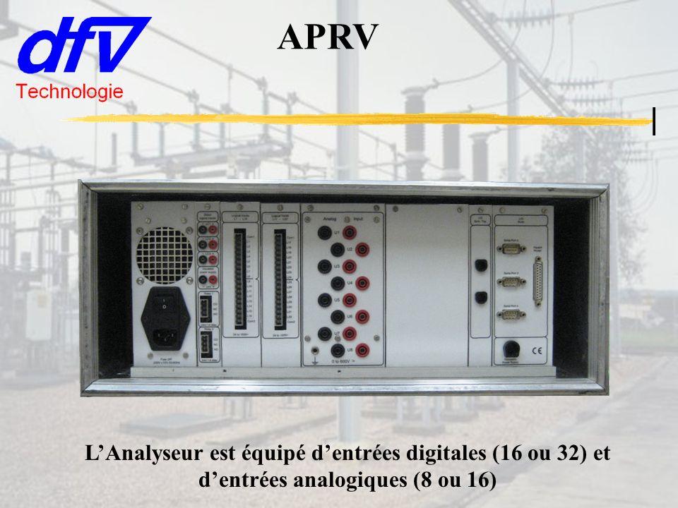 APRV LAnalyseur est équipé dentrées digitales (16 ou 32) et dentrées analogiques (8 ou 16)