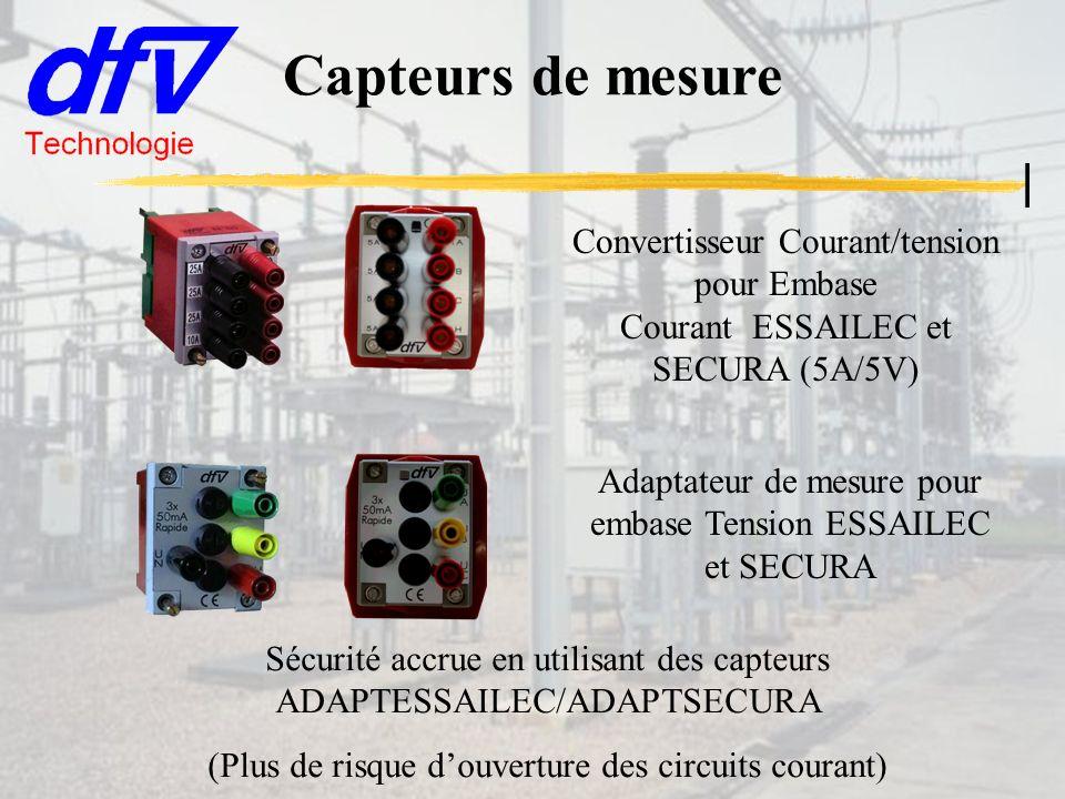Capteurs de mesure Sécurité accrue en utilisant des capteurs ADAPTESSAILEC/ADAPTSECURA (Plus de risque douverture des circuits courant) Convertisseur