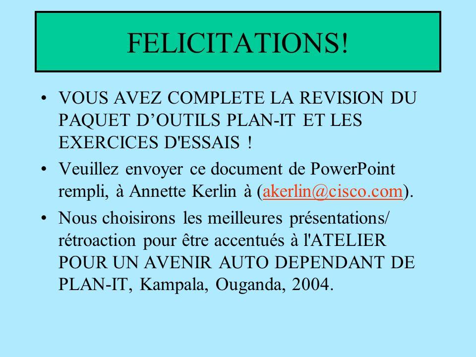 FELICITATIONS. VOUS AVEZ COMPLETE LA REVISION DU PAQUET DOUTILS PLAN-IT ET LES EXERCICES D ESSAIS .