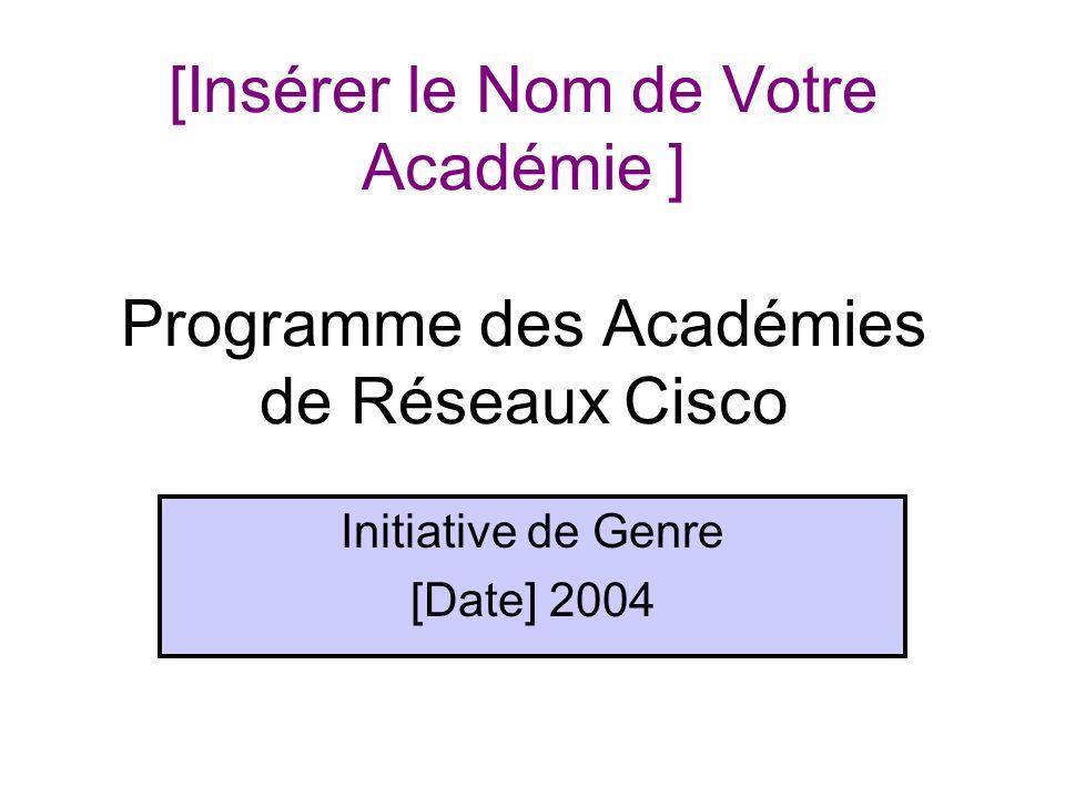 [Insérer le Nom de Votre Académie ] Programme des Académies de Réseaux Cisco Initiative de Genre [Date] 2004