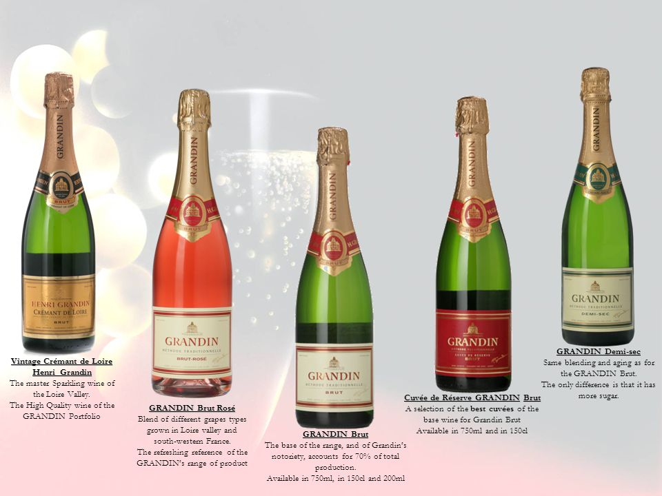 GRANDIN Brut The base of the range, and of Grandins notoriety, accounts for 70% of total production. Available in 750ml, in 150cl and 200ml GRANDIN De