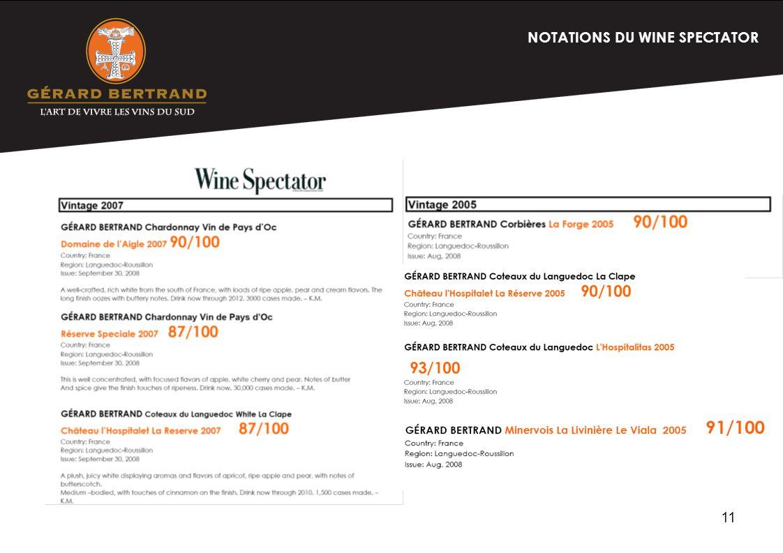 11 NOTATIONS DU WINE SPECTATOR
