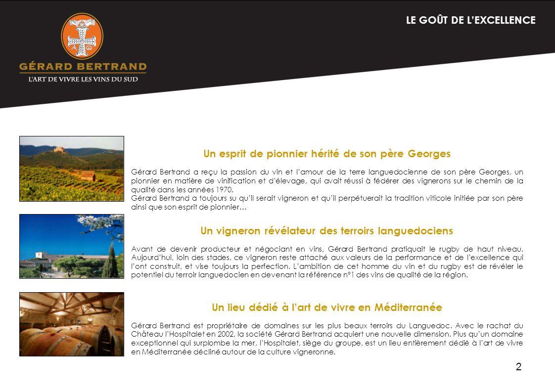 3 GERARD BERTRAND LENTREPRISE Distribution et ventes Gérard Bertrand, vinificateur démotions depuis plus de 20 ans, se positionne en tant que spécialiste des vins premium du Sud de la France.