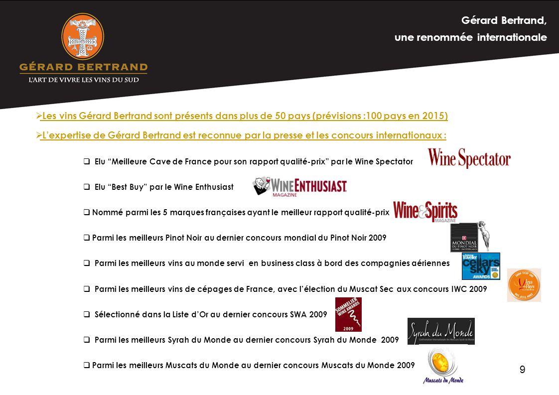 9 Les vins Gérard Bertrand sont présents dans plus de 50 pays (prévisions :100 pays en 2015) Lexpertise de Gérard Bertrand est reconnue par la presse