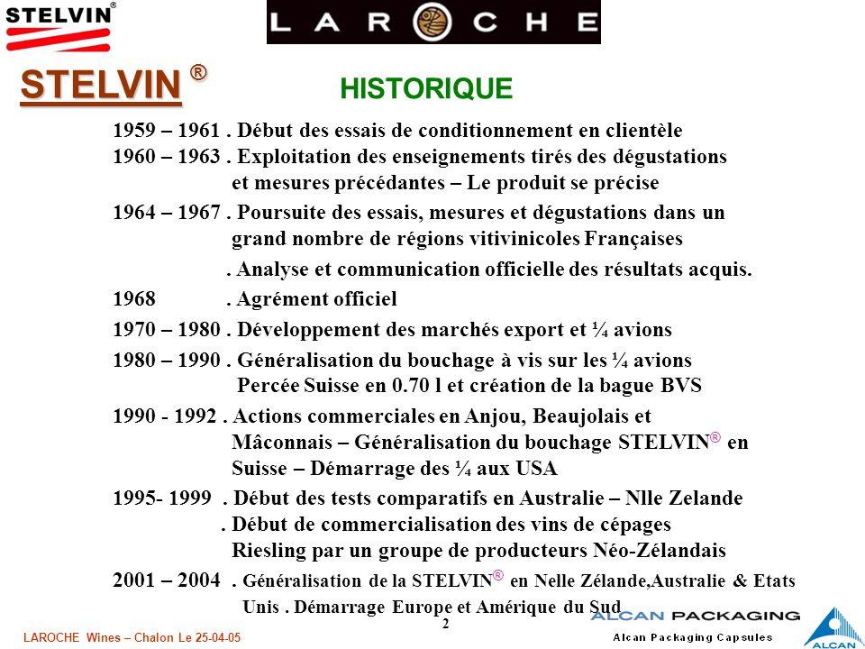3 LAROCHE Wines – Chalon Le 25-04-05 STELVIN ® Le concept Stelvin ® aujourdhui Forte Croissance