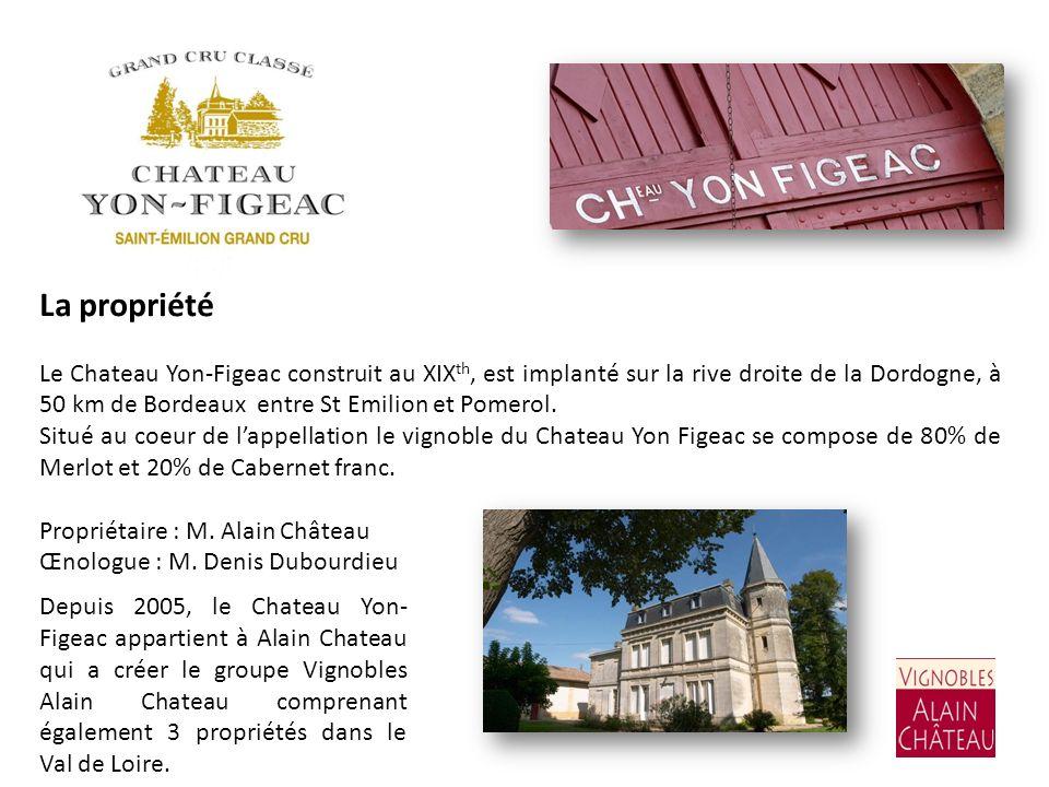 La propriété Le Chateau Yon-Figeac construit au XIX th, est implanté sur la rive droite de la Dordogne, à 50 km de Bordeaux entre St Emilion et Pomero