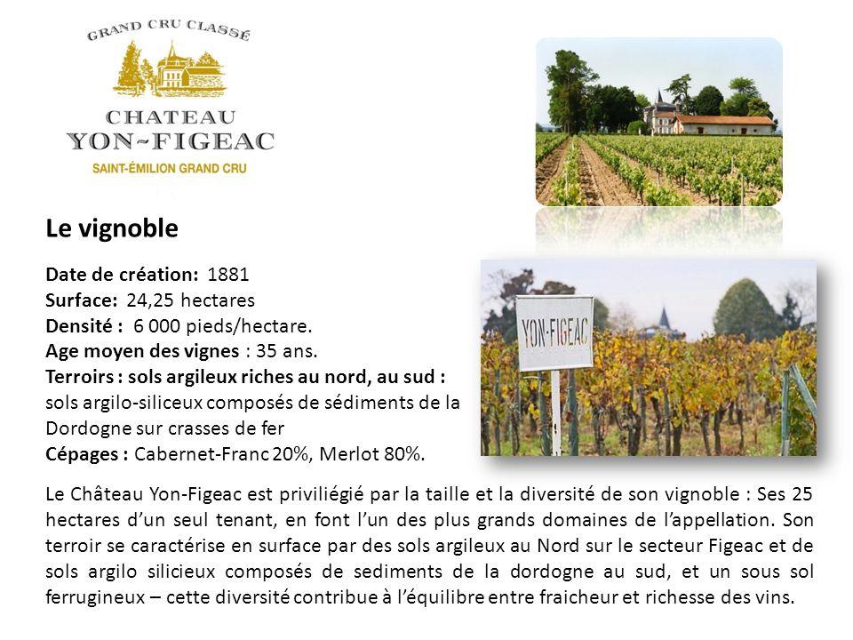 Le vignoble Date de création: 1881 Surface: 24,25 hectares Densité : 6 000 pieds/hectare. Age moyen des vignes : 35 ans. Terroirs : sols argileux rich