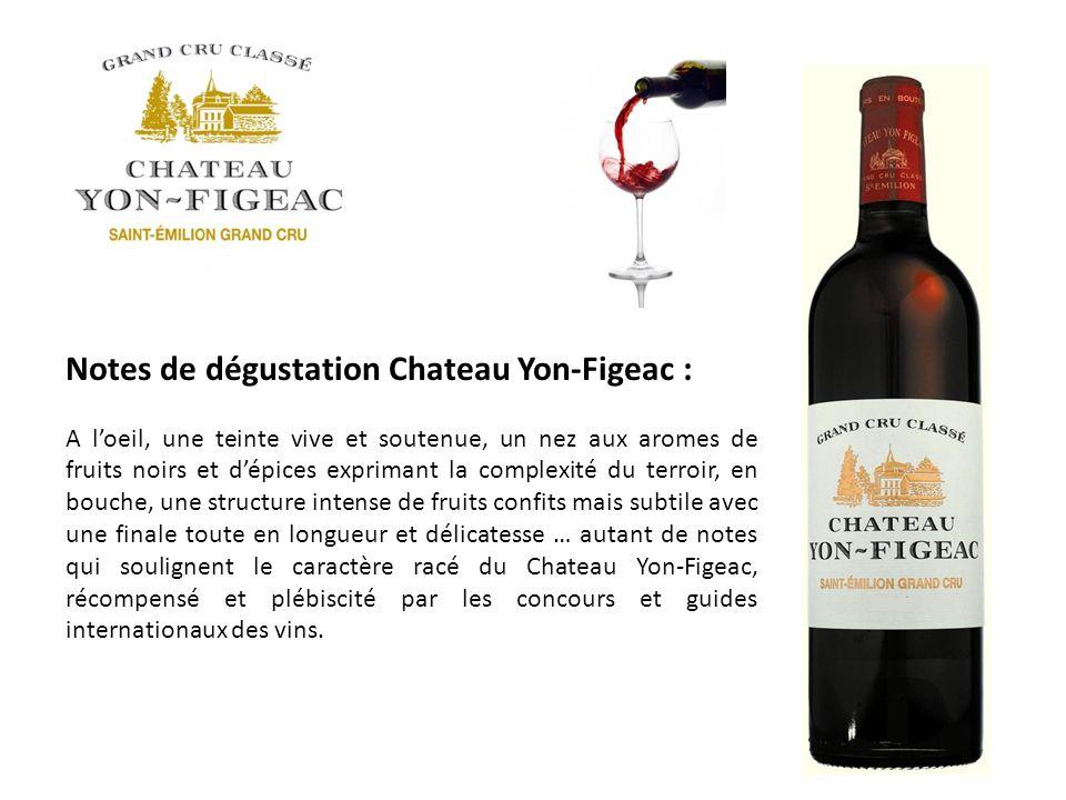 Notes de dégustation Chateau Yon-Figeac : A loeil, une teinte vive et soutenue, un nez aux aromes de fruits noirs et dépices exprimant la complexité d