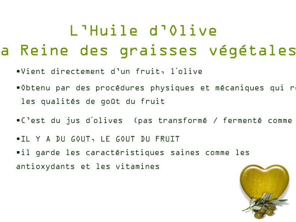 LHuile dOlive La Reine des graisses végétales IL Y A DU GOUT, LE GOUT DU FRUIT il garde les caractéristiques saines comme les antioxydants et les vita