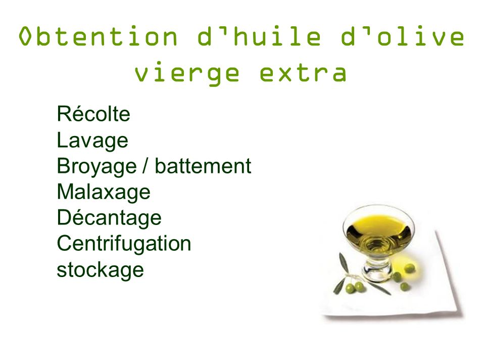 Obtention dhuile dolive vierge extra Récolte Lavage Broyage / battement Malaxage Décantage Centrifugation stockage