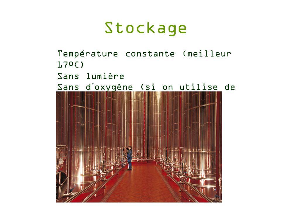 Stockage Température constante (meilleur 17ºC) Sans lumière Sans d´oxygène (si on utilise de lAzote)