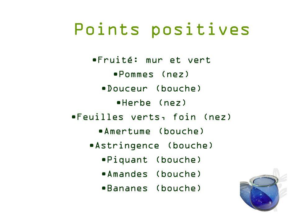 Points positives Fruité: mur et vert Pommes (nez) Douceur (bouche) Herbe (nez) Feuilles verts, foin (nez) Amertume (bouche) Astringence (bouche) Piqua