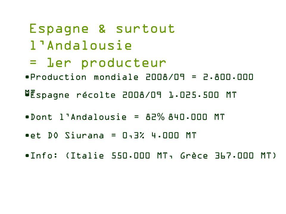 Espagne & surtout lAndalousie = 1er producteur Production mondiale 2008/09 = 2.800.000 MT Espagne récolte 2008/09 1.025.500 MT Dont lAndalousie = 82 %