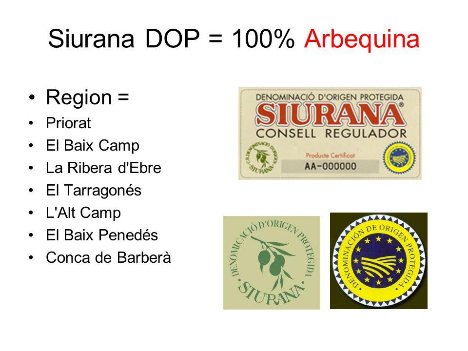 Siurana DOP = 100% Arbequina Region = Priorat El Baix Camp La Ribera d'Ebre El Tarragonés L'Alt Camp El Baix Penedés Conca de Barberà