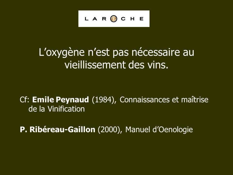 Loxygène nest pas nécessaire au vieillissement des vins. Cf: Emile Peynaud (1984), Connaissances et maîtrise de la Vinification P. Ribéreau-Gaillon (2
