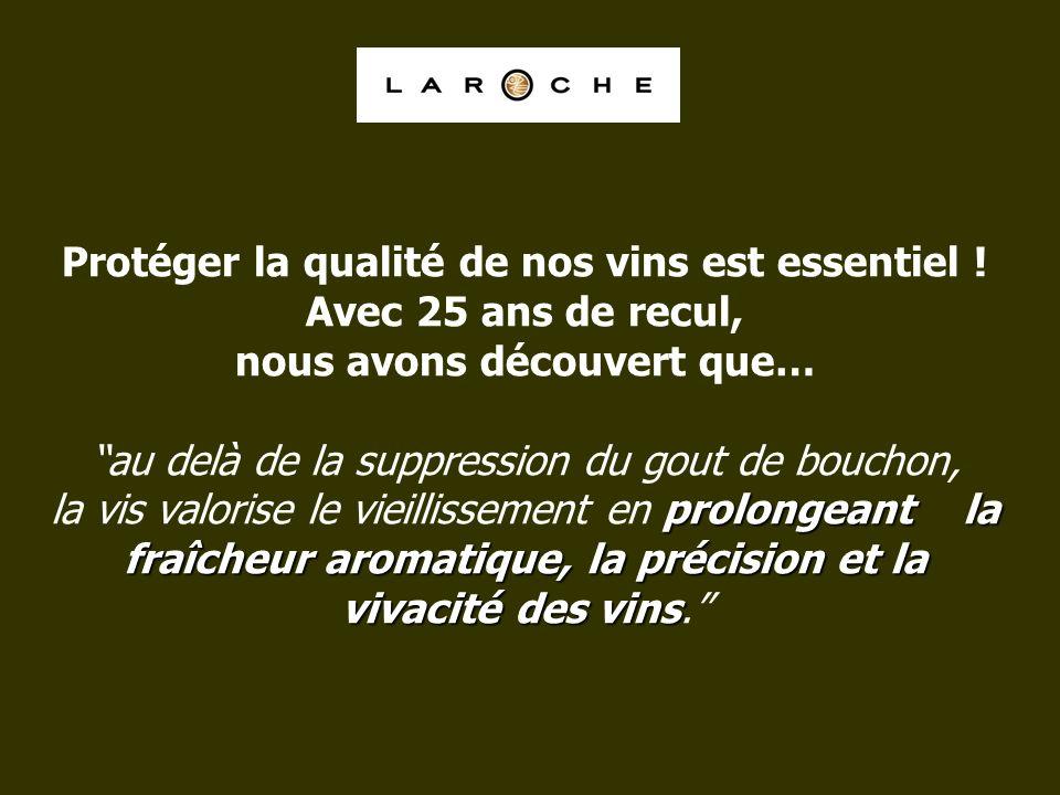 prolongeant la fraîcheur aromatique, la précision et la vivacité des vins Protéger la qualité de nos vins est essentiel ! Avec 25 ans de recul, nous a