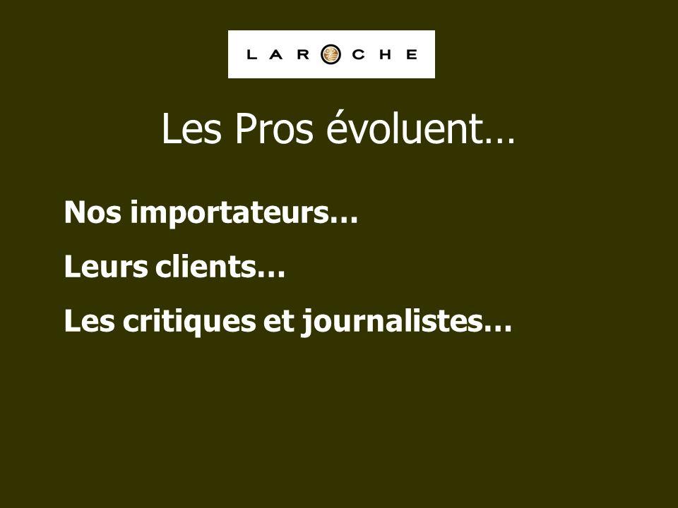 Nos importateurs… Leurs clients… Les critiques et journalistes… Les Pros évoluent…