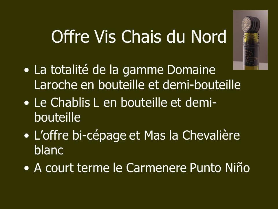 Offre Vis Chais du Nord La totalité de la gamme Domaine Laroche en bouteille et demi-bouteille Le Chablis L en bouteille et demi- bouteille Loffre bi-
