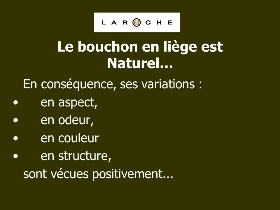 Le bouchon en liège est Naturel… En conséquence, ses variations : en aspect, en odeur, en couleur en structure, sont vécues positivement...