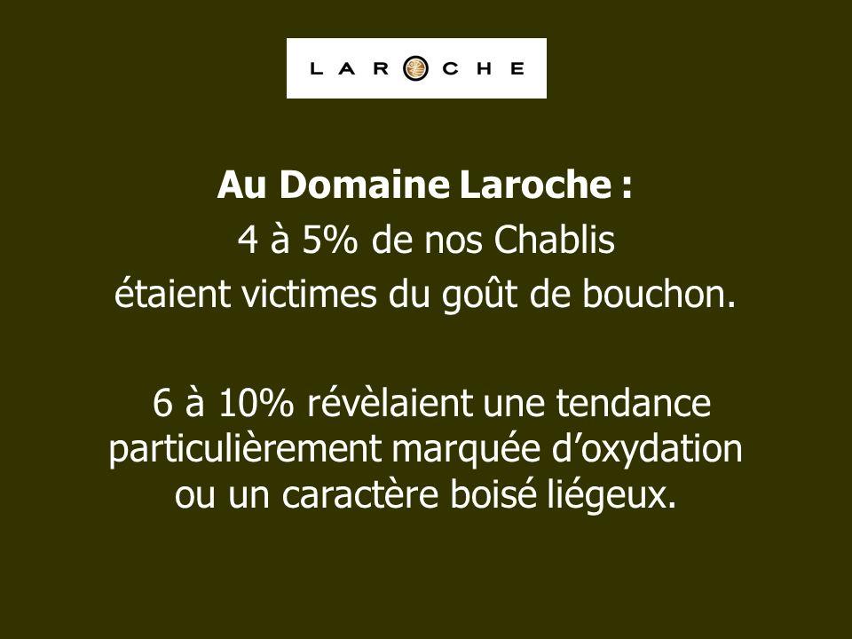Au Domaine Laroche : 4 à 5% de nos Chablis étaient victimes du goût de bouchon. 6 à 10% révèlaient une tendance particulièrement marquée doxydation ou