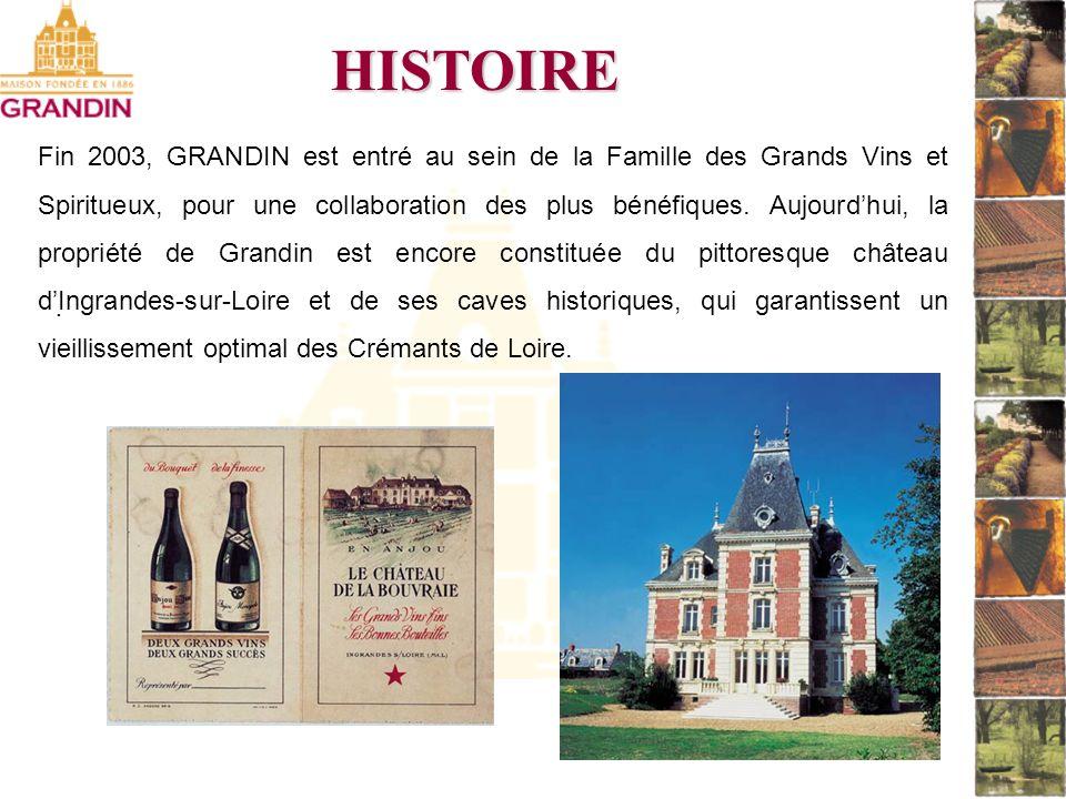 . HISTOIRE Fin 2003, GRANDIN est entré au sein de la Famille des Grands Vins et Spiritueux, pour une collaboration des plus bénéfiques. Aujourdhui, la