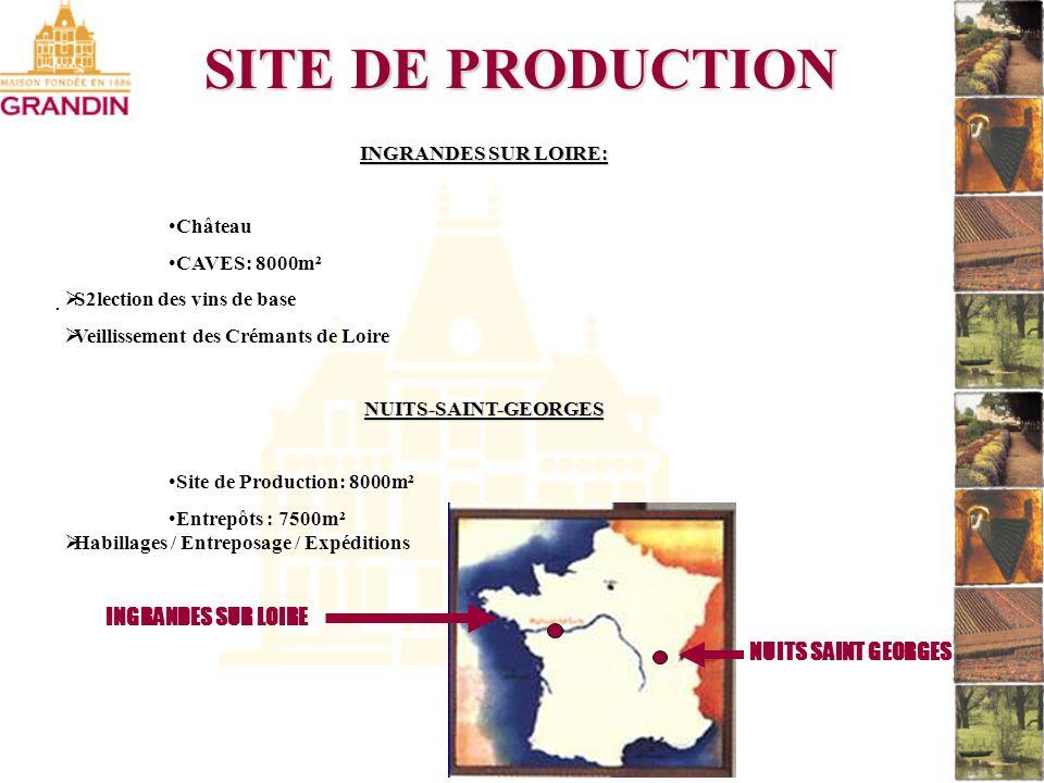 . SITE DE PRODUCTION INGRANDES SUR LOIRE: Château CAVES: 8000m² S2lection des vins de base Veillissement des Crémants de LoireNUITS-SAINT-GEORGES Site