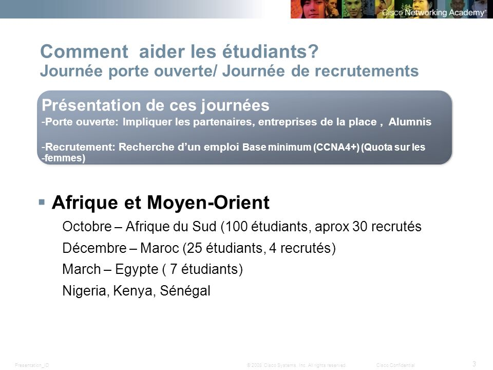 Presentation_ID 3 © 2008 Cisco Systems, Inc. All rights reserved.Cisco Confidential Comment aider les étudiants? Journée porte ouverte/ Journée de rec