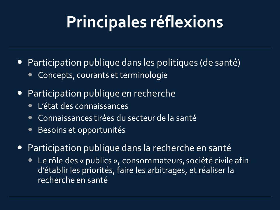 Principales réflexions Participation publique dans les politiques (de santé) Concepts, courants et terminologie Participation publique en recherche Lé