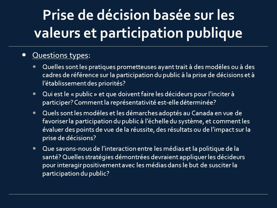 Prise de décision basée sur les valeurs et participation publique Questions types: Quelles sont les pratiques prometteuses ayant trait à des modèles o