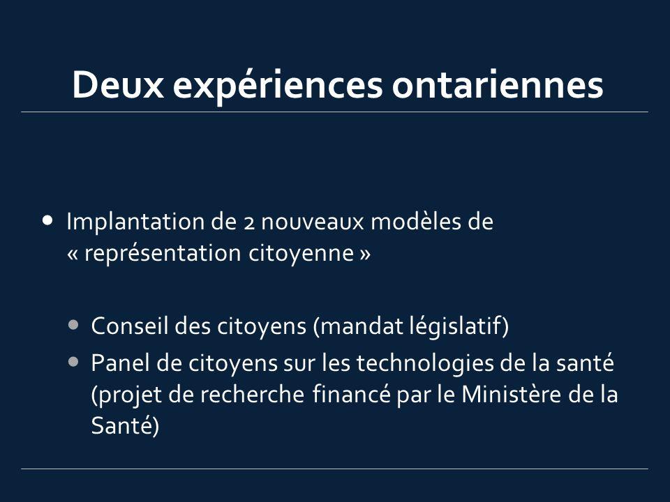 Deux expériences ontariennes Implantation de 2 nouveaux modèles de « représentation citoyenne » Conseil des citoyens (mandat législatif) Panel de citoyens sur les technologies de la santé (projet de recherche financé par le Ministère de la Santé)