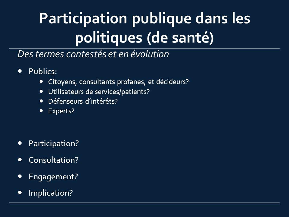 Participation publique dans les politiques (de santé) Des termes contestés et en évolution Publics: Citoyens, consultants profanes, et décideurs? Util
