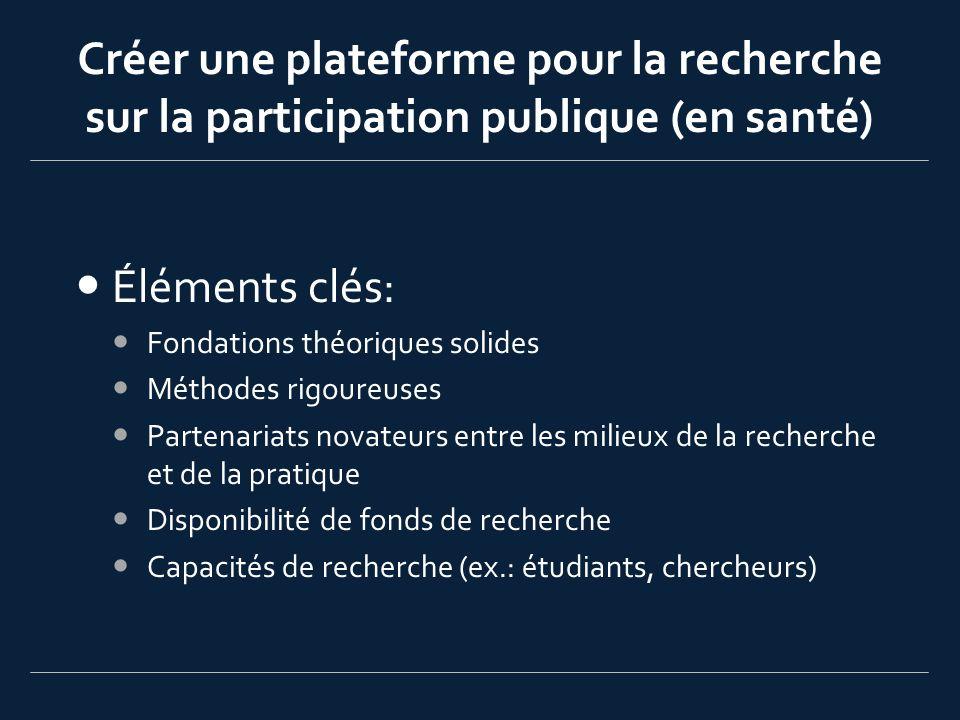 Fondations théoriques et conceptuelles (1) Quels sont les OBJECTIFS de la participation publique Démocratique (transparence, imputabilité, confiance) Instrumental (améliorer la qualité de la décision) Développement des capacités (ex.: éducation) Évaluer le PROCESSUS de la participation publique (Rowe & Frewer, 2004) Représentativité, diversité (points de vue exprimés) Indépendance (processus juste et impartial) Ressources (capacité pour une participation publique de grande qualité) Processus décisionnel structuré (clair, légitime, et transparent)