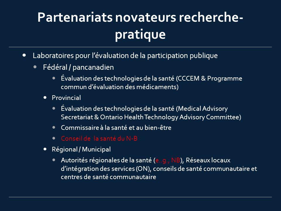 Partenariats novateurs recherche- pratique Laboratoires pour lévaluation de la participation publique Fédéral / pancanadien Évaluation des technologie