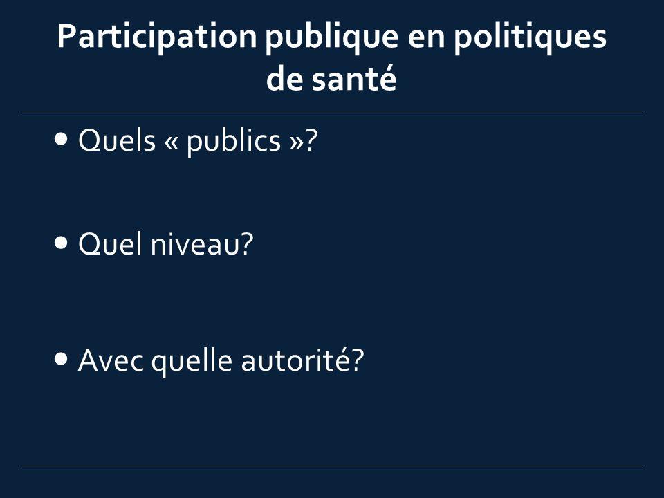 Participation publique en politiques de santé Quels « publics »? Quel niveau? Avec quelle autorité?