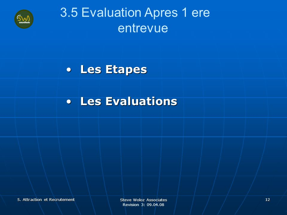 Steve Woloz Associates Revision 3: 09.04.08 12 3.5 Evaluation Apres 1 ere entrevue Les EtapesLes Etapes Les EvaluationsLes Evaluations 5.