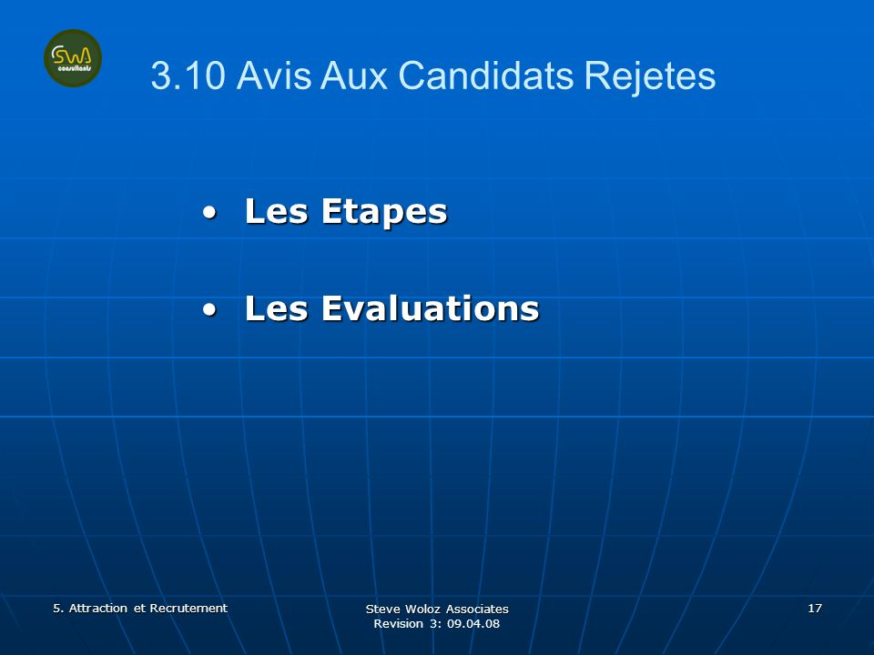 Steve Woloz Associates Revision 3: 09.04.08 17 3.10 Avis Aux Candidats Rejetes Les EtapesLes Etapes Les EvaluationsLes Evaluations 5.